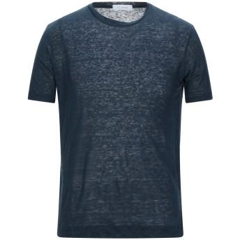 《セール開催中》CRUCIANI メンズ T シャツ ダークブルー 48 リネン 100%