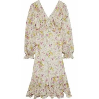 ミカエル アガール MIKAEL AGHAL レディース ワンピース ワンピース・ドレス Cutout pleated floral-print georgette dress Beige