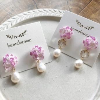 バロックパールと桜のつまみ細工のピアス&イヤリング