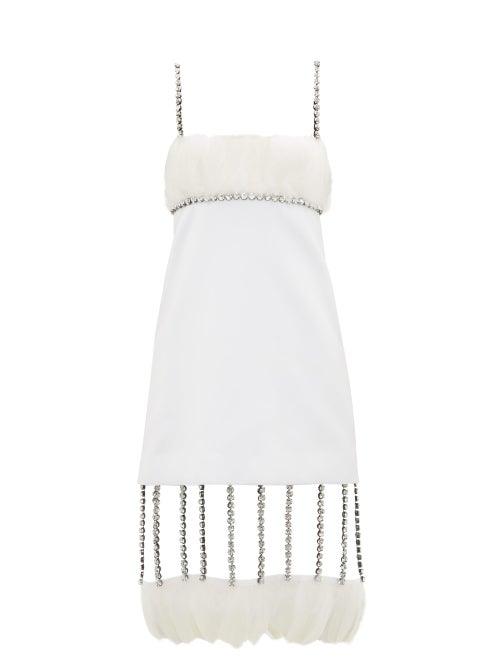 Christopher Kane - Cupchain-strap Removable-hem Duchess-satin Dress - Womens - White