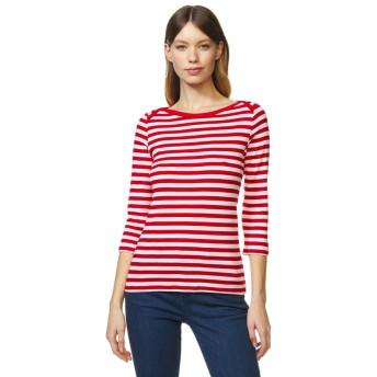 BENETTON (women) コットンボートネックボーダー7分袖Tシャツ・カットソー(ホワイト×レッド)