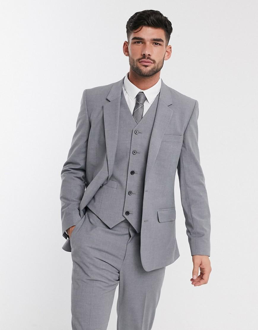 ASOS DESIGN slim suit jacket in mid grey