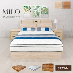 IHouse 米洛日系插座收納床頭+床底+獨立筒三件組 雙大6尺