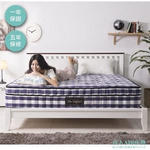 【直人木業】AP01-藍白格單人3.5尺獨立筒床墊