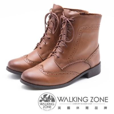WALKING ZONE 經典牛津雕花休閒中筒 女靴-咖(另有黑)
