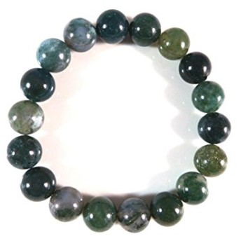 Empath Protection 10mm Stretchable Green Moss Agate Bracelet Round, Smooth 7.5 for mens, womens, gf, bf & Adult.