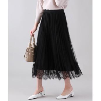 (BLUEEAST/ブルーイースト)裾レースリバーシブルチュールスカート/レディース ブラック