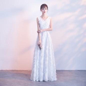 ウェディングドレス 白 二次会 花嫁 大きいサイズ 3L スレンダーライン エンパイアライン 結婚式 ノースリーブ フェザー ロング Vネック