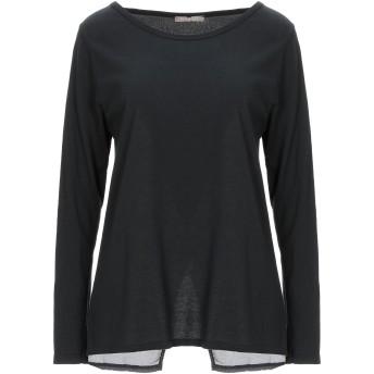 《セール開催中》PLEASE レディース T シャツ ブラック M レーヨン 65% / 紡績繊維 35%