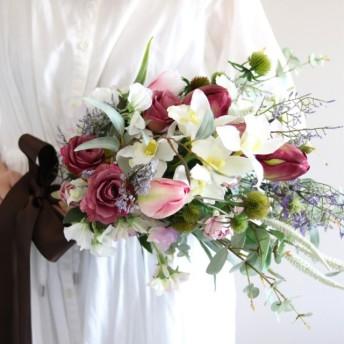 【20%OFF / ブーケ・ブートニアセット】春の花のスワッグブーケ