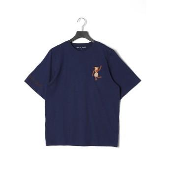 【60%OFF】ワンポイント 半袖 Tシャツ ネイビー xl
