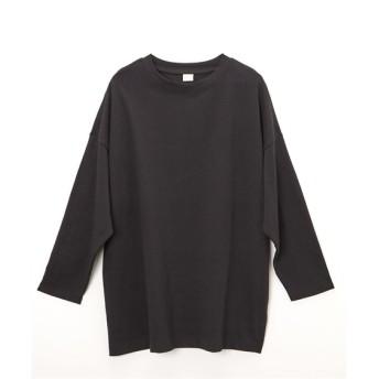 綿100% 裾スリット入クルーネックTシャツ (Tシャツ・カットソー)(レディース)T-shirts, T恤