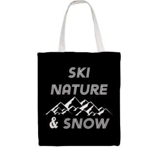 スキーネイチャースノーウインターバケーションスキーバインディング(1)ショッピング、ラップトップ、教科書の再利用可能なウォッシャブルの素晴らしい選択のショルダーバッグ
