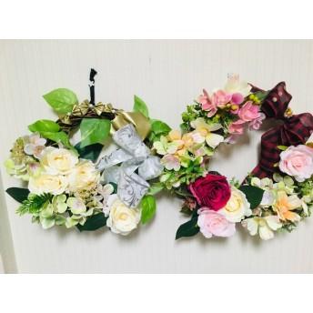 鮮やかな薔薇と紫陽花のリース 2セット リボン付き