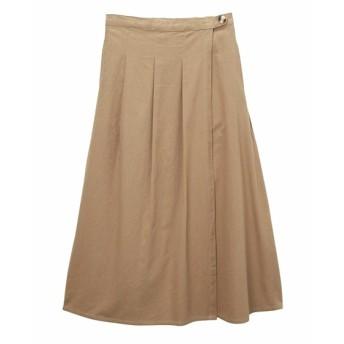 綿ツイルラップデザインロング丈スカート (ロング丈・マキシ丈スカート)Skirts