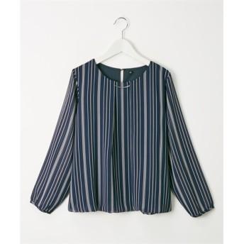 シフォンストライプバーネックレス付ブラウス (ブラウス)Blouses, Shirts