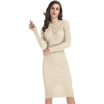 WDSFT 女性のラップドレス胸のボタンのドレスピュアカラースリムフィットベルトバッグヒップスカート2020新しい春と夏 (Color : Apricot, Size : L)