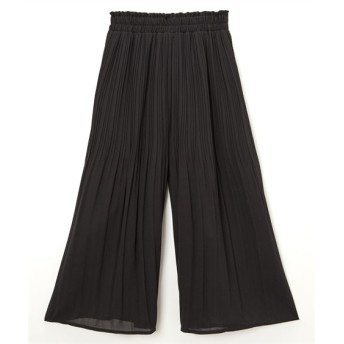 シフォンジョーゼット素材ウエストフリル消しプリーツパンツ (レディースパンツ)Pants