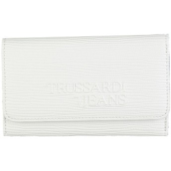 《セール開催中》TRUSSARDI JEANS レディース 財布 ホワイト ポリエステル 100% / ポリウレタン