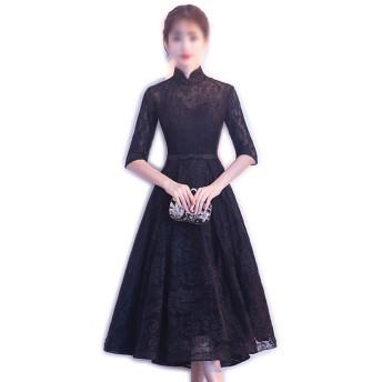 女性の黒のエレガントなスタンドカラーの中国のレースパーティーイブニングロングドレス (Color : Black, Size : XL)