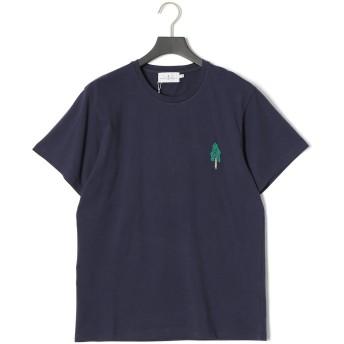 【65%OFF】エンブロイダリー クルーネック 半袖Tシャツ ダークネイビー m