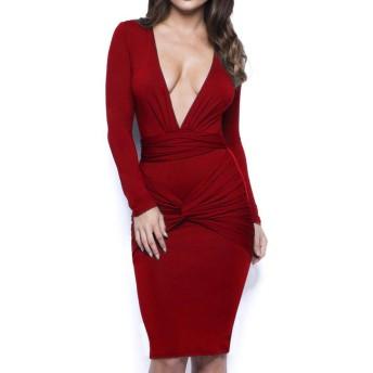 LOPNMEWQ 女性 ディープVネックロングスリーブ 弾性シース ボディコン褶曲 ナイトクラブドレス