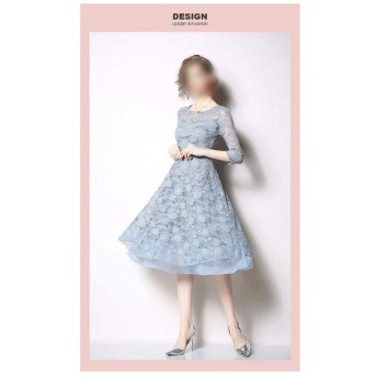 エレガントな気質長袖ドレスラウンドネックカットアウトスリムスリムレースのスカート (Color : Pink, Size : L)