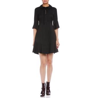 【70%OFF】PEPITA デザイン襟 リボン ベルスリーブ ドレス ブラック 48