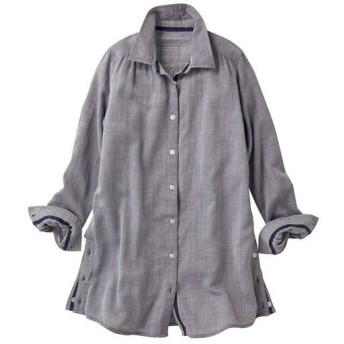 【レディース】 ふんわりコットンのダブルガーゼロングシャツ ■カラー:ネイビー(細ストライプ) ■サイズ:S,M