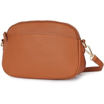 本革 ポシェット レディース 緩やかな曲線 女性らしいシルエット 長財布収納可能 旅行バッグ ミニバッグ sd-le4-bread (BROWN)