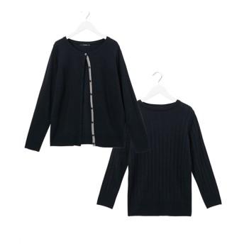2点セット(配色使いカーディガン+ワイドリブ8分袖ニット) (ニット・セーター)(レディース)Knitting, Sweater