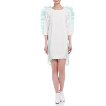 【85%OFF】ギンガムチェック切替 フリル 七分袖ドレス ホワイト/エメラルドグリーン 40