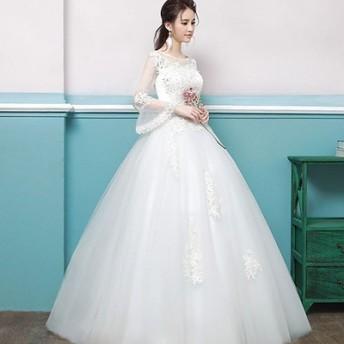 結婚式 フレア袖 ホワイトドレス 大きいサイズ 花嫁 長袖 披露宴 ウェディングドレス ブライダルドレス ハイネック 妊娠 Aラインドレス ドレス 469