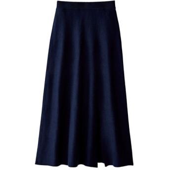 【レディース大きいサイズ】 スリット入りニットスカート ■カラー:ネイビー ■サイズ:L,LL,3L,4L,5L,6L