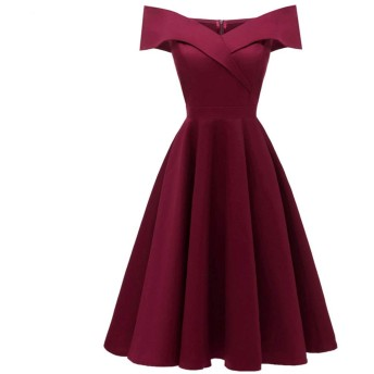 レディースイブニングドレス レディースオフショルダーVネックセミフォーマルミディドレス宴会イブニングドレス パーティードレス ブライズメイド ドレス (Color : Red wine, Size : S)