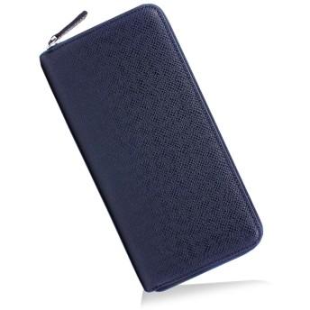 FRANKGERALD 財布 メンズ 長財布 スキミング防止 YKKファスナー 大容量 牛革 薄型 小銭入れ カード入れ (NAVY(ネイビー))