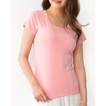 [JANJAMCOLLECTION] 大きいサイズ レディース インナー ブラトップ カットソー カップ付き Tシャツ Uネック 5L ピンク