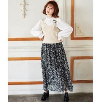 イング(INGNI)/単色花柄ギャザースカート