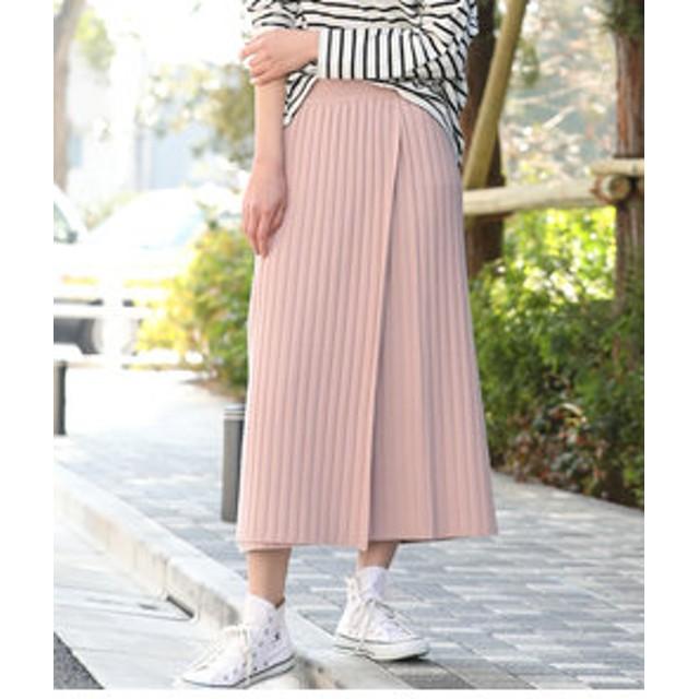 【ViS:スカート】【WEB限定】リブニット巻きスカート