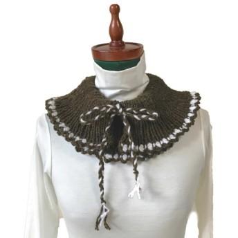 カーキと白縁飾りの飾り襟風ネックウォーマー
