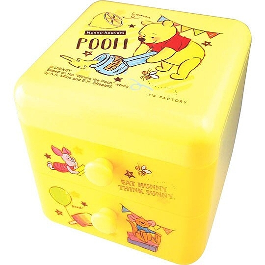 〔小禮堂〕迪士尼 小熊維尼 桌上型塑膠雙抽收納盒《黃.拿蠟筆》置物盒.抽屜盒.飾品盒 4548626-10713