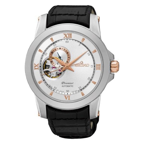 Seiko精工 Premier 4R39-00P0KS(SSA322J1) 藝術羅馬鏤空機械腕錶/白面 41.5mm