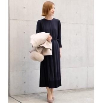 (STRAWBERRY FIELDS/ストロベリーフィールズ)◆ソアパールジョーゼット ドレス/レディース ネイビー