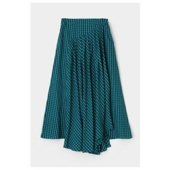 マウジー moussy GINGHAM FLARE SKIRT (グリーン)