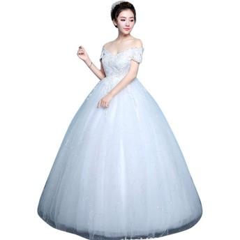 プリンセス お嬢様 デート 体型カバー dress レース 花嫁二次会ドレス 写真撮影衣装 ウエディングドレス (L, ホワイト)