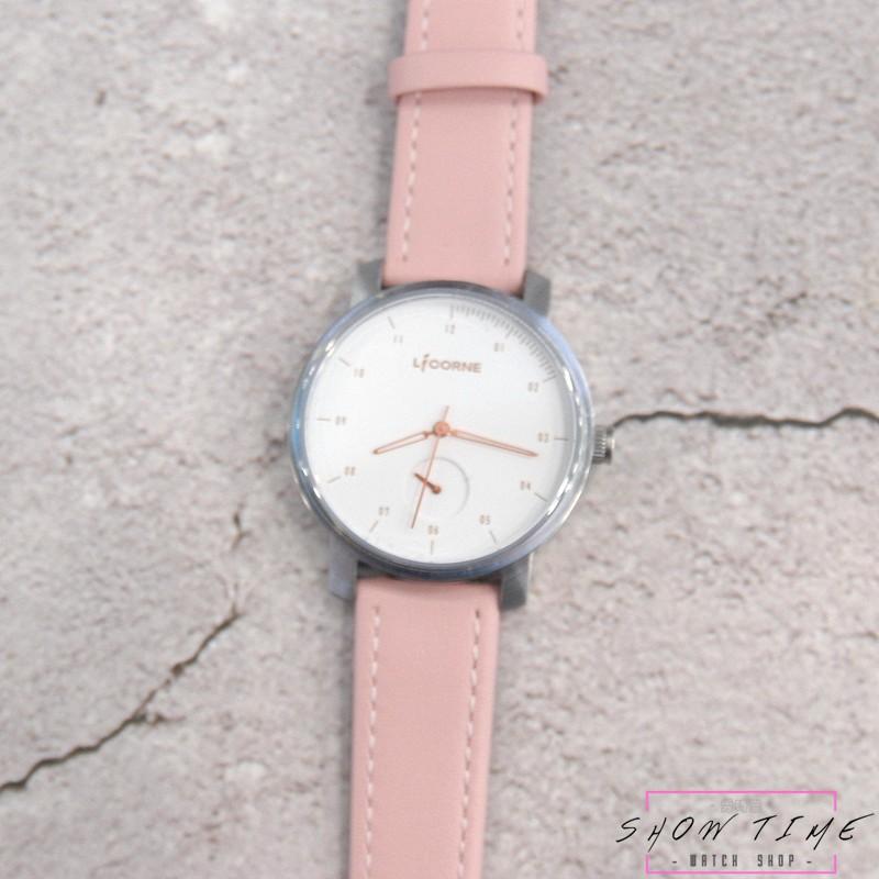 LICORNE 力抗錶 文青簡約自由風格女孩腕錶-粉色皮帶/白面玫瑰金針銀 LT124LWWBN [ 秀時堂 ]