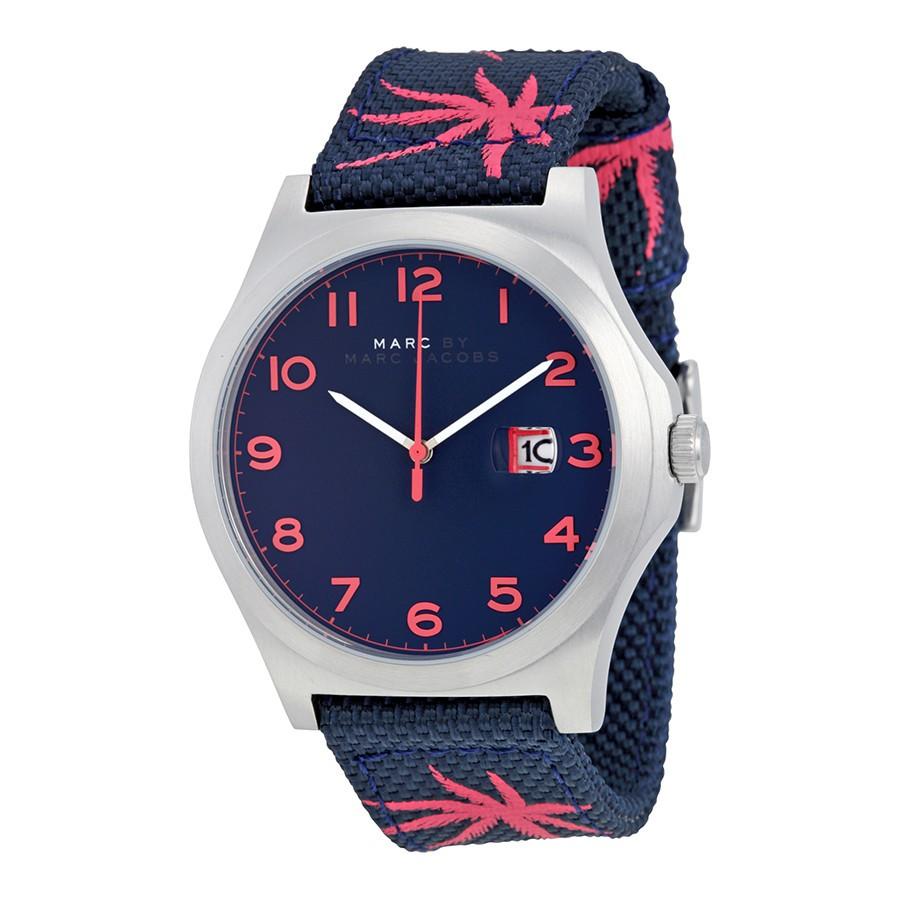 MARC By Marc Jacobs (MBM5087) 熱帶棕櫚帆布腕錶 藍/桃紅