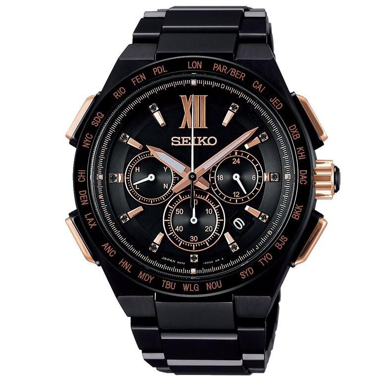 Seiko 精工 BRIGHTZ 8B92-0AH0SD(SAGA214J) 限量鈦金屬太陽能電波腕錶 黑 43m