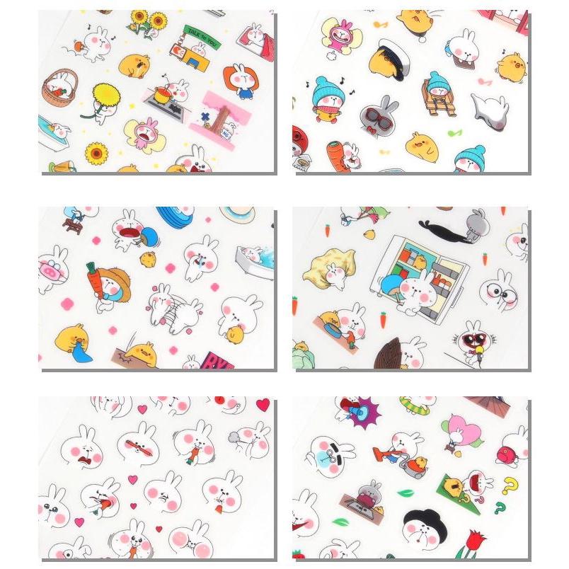 【正心堂】6張入 可愛萌兔透明貼紙 (現貨) 可愛兔子 動物圖案 手帳裝飾 文具用品 DIY日記貼 每組6張 貼紙