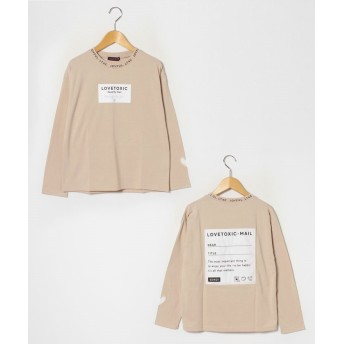 (Lovetoxic/ラブトキシック)衿ロゴバックプリントTシャツ/ ベージュ